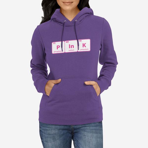 Ženski pulover s kapuco Periodni element Pink