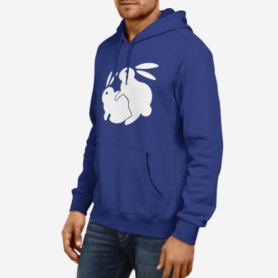 Moški pulover s kapuco Pohotni zajec