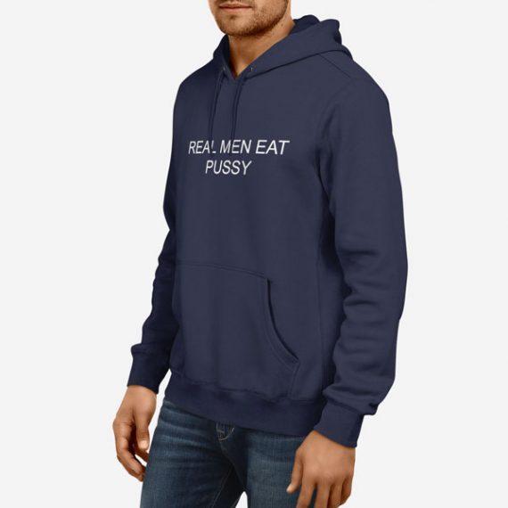 Moški pulover s kapuco Real men eat pussy