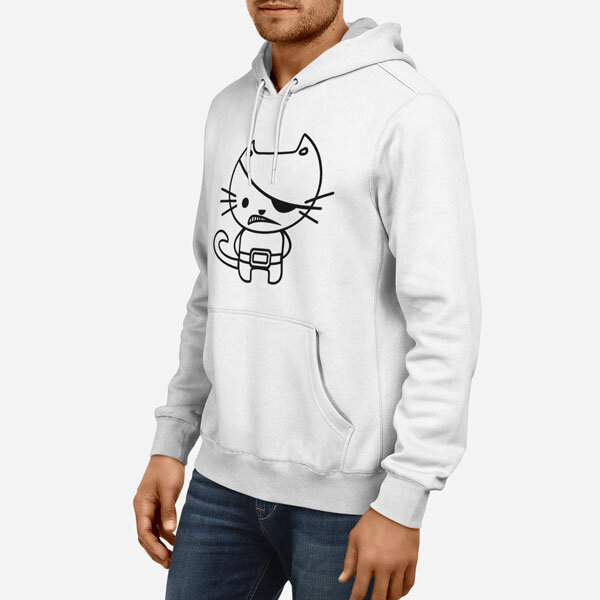 Moški pulover s kapuco Kitty Pirate