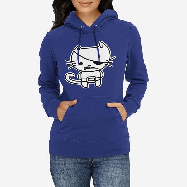 Ženski pulover s kapuco Kitty Pirate