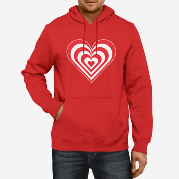 Moški pulover s kapuco Zebra srce