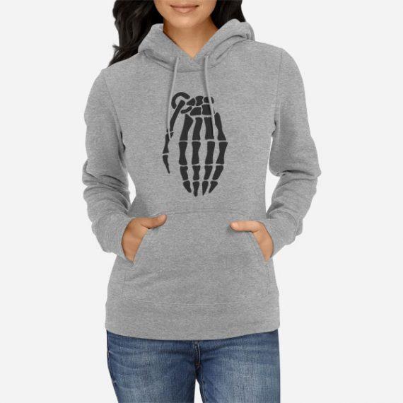 Ženski pulover s kapuco Skelet Granata