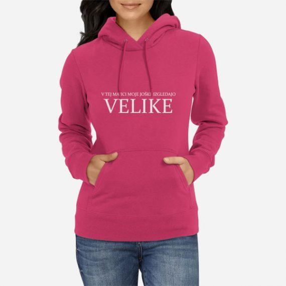 Ženski pulover s kapuco Velike